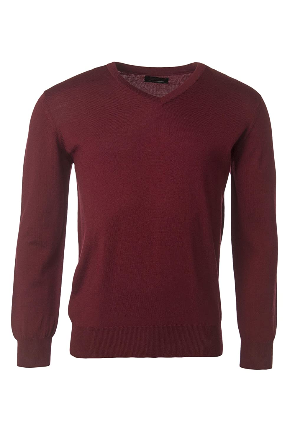 1b67a0e7917a48 Great   British Knitwear Men s HD700 100% Merino Wool V Neck Jumper. Made  in Scotland-Bordeaux-Small  Amazon.co.uk  Clothing