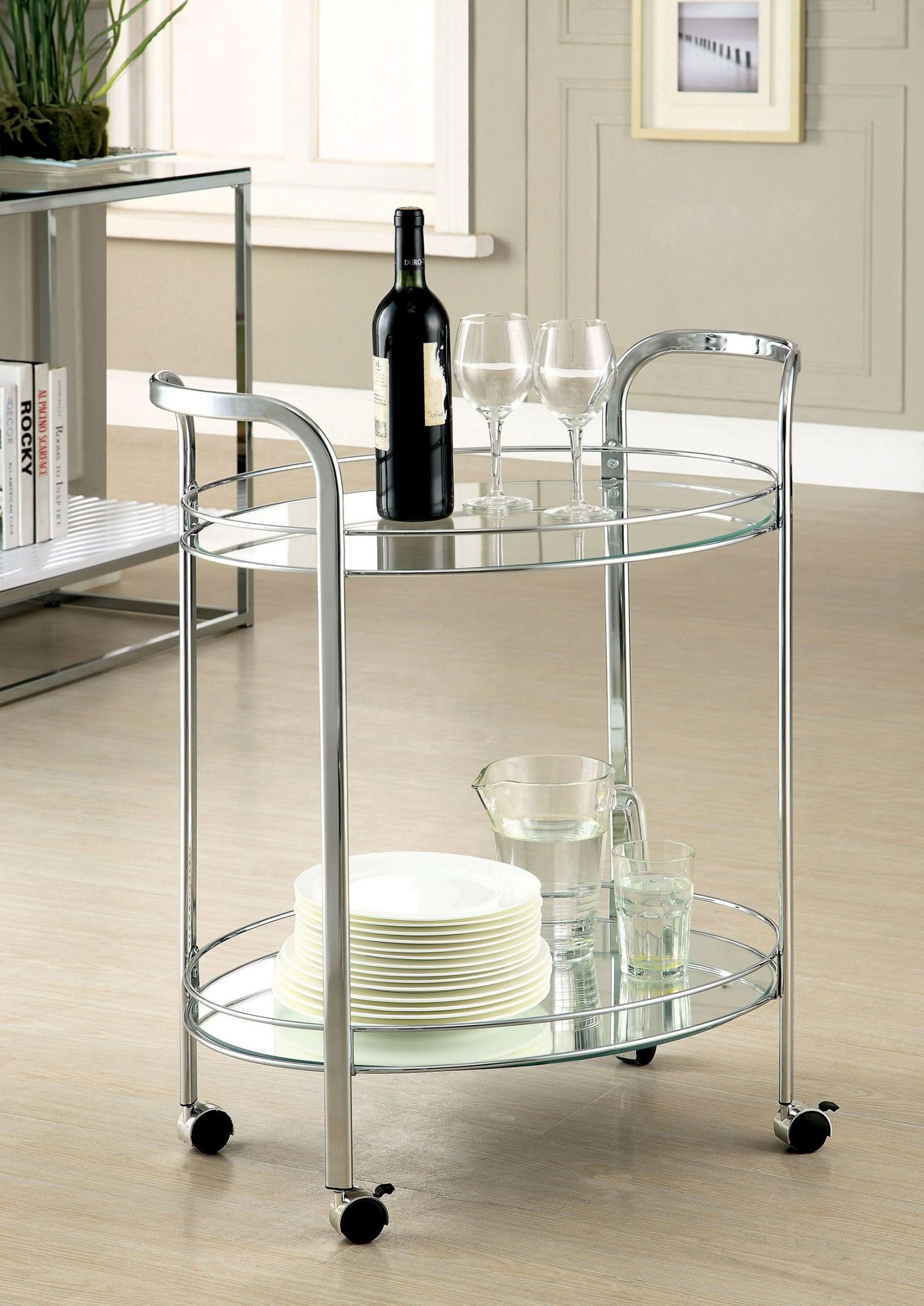 Furniture of America CM-AC228 Loule Chrome Serving Cart Kitchen Islands