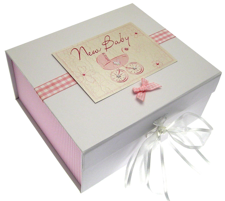 """White Cotton Cards - Caja de recuerdos para recién nacido (A5), diseño con texto""""New Baby"""" y cochecito, color rosa BBP2"""