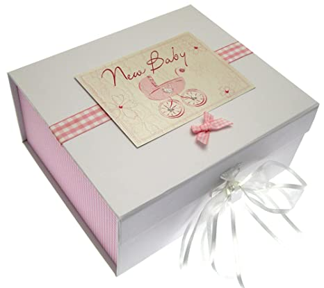 White Cotton Cards - Caja de recuerdos para recién nacido (A5), diseño con texto