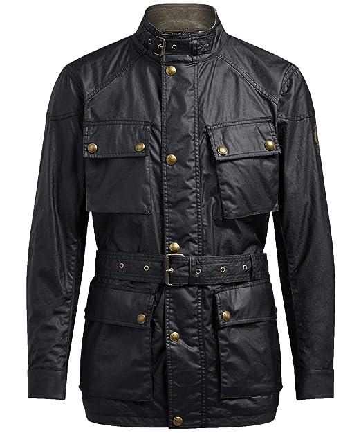 e0a99c7a87b8 Belstaff Men s Waxed Cotton Trialmaster Jacket Black  Amazon.co.uk ...