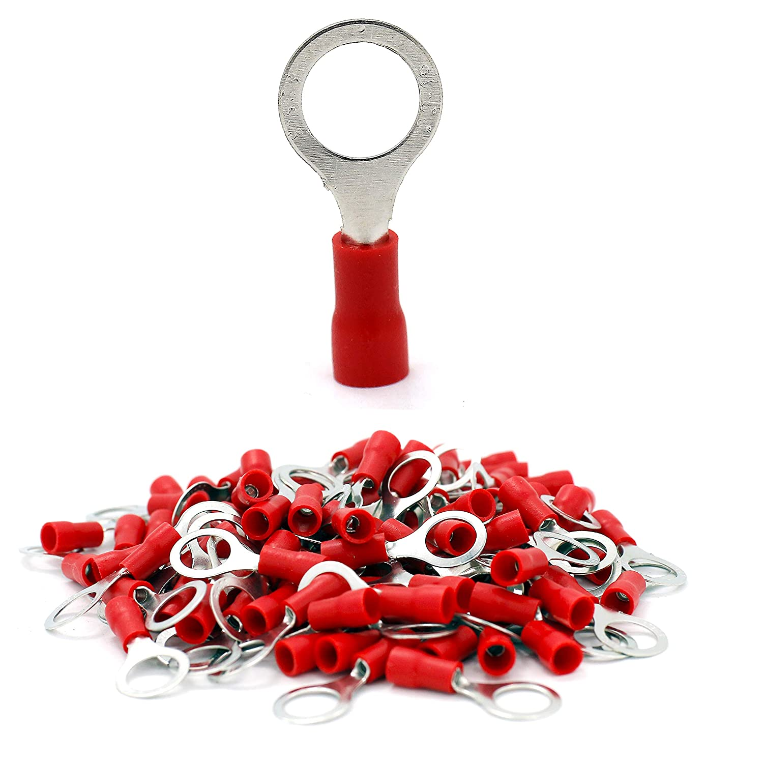 20Pcs 22-16 AWG M6 Assorted Insulated Ring Wire Crimp Connector Terminals Assortment Red