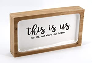 """This is Us Our Life Our Story Our Home Stamped Wood Frame Metal Sign, Indoor Home Decor, Free Standing, Wall Decor, Block Style Decorative Accessory, Farmhouse, Modern, Traditional, 13""""x2.3""""x7.5""""H"""