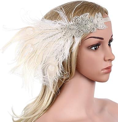 BABEYOND Bandeau Cristal Bandeau Plume Flapper Headband Silver Gatsby Art des Ann/ées 1920 C/ér/émonies Accessoires de Cheveux Bandeaux Plume