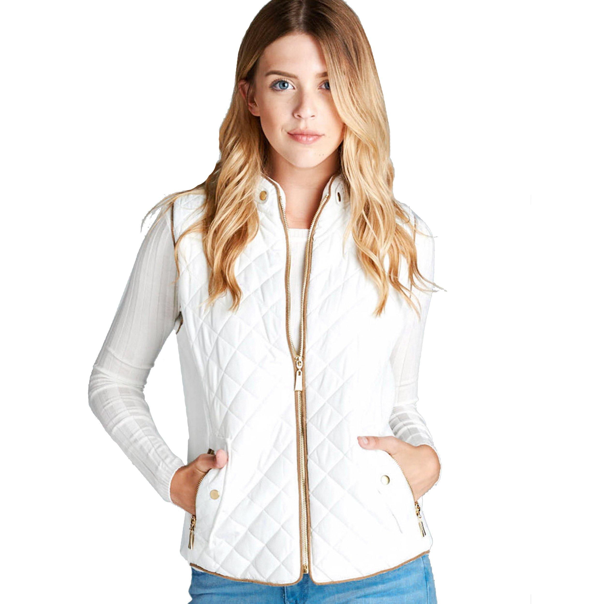 Trends SNJ Women's Lightweight Quilted Padding Zip Up Jacket Vest