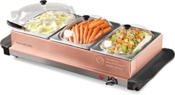 HomeCraft BSC15 Triple Buffet Server & Warming Tray, 1.5 Quart, Copper