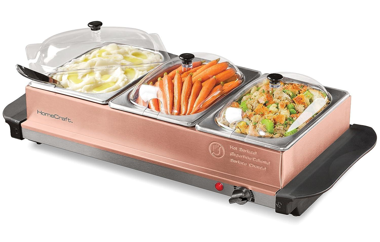 Nostalgia BSC15 3-Station 1.5-Quart Buffet Server Warming Tray Copper
