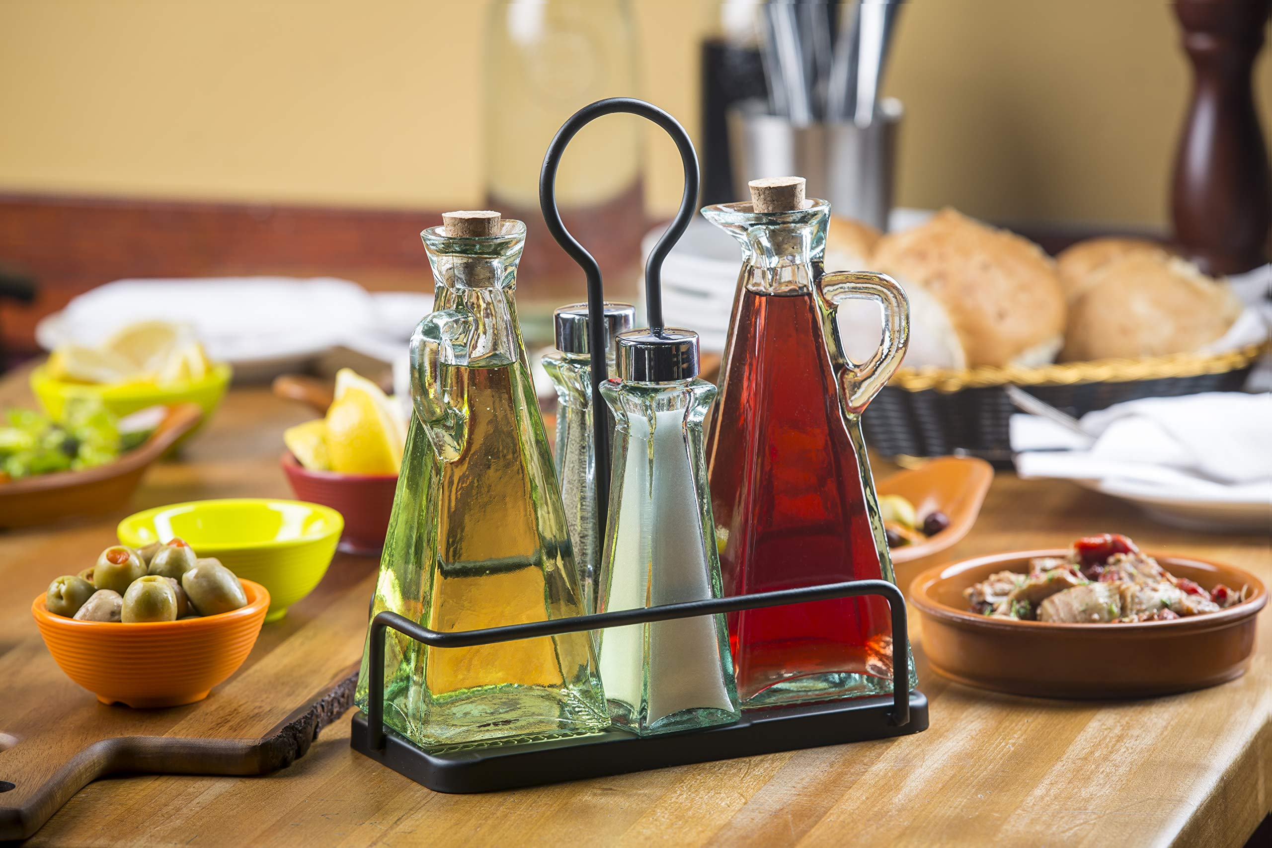Tablecraft Marbella Oil & Vinegar & Salt & Pepper Set with Metal Rack | Tabletop Display Rack | Commerical Quality for Restaurant Use by Tablecraft
