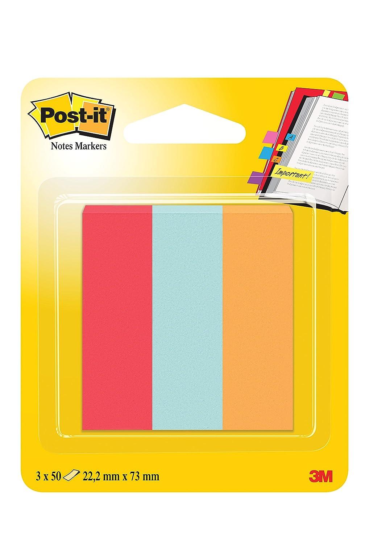 Post-it 11757 Segnapagina in Carta, 22 x 73 mm, 3 Colori Classici, Rosso Rubino/Acquamarina/Arancione, 3 Blochetti da 50 Pezzi 3MITA 671-PBO