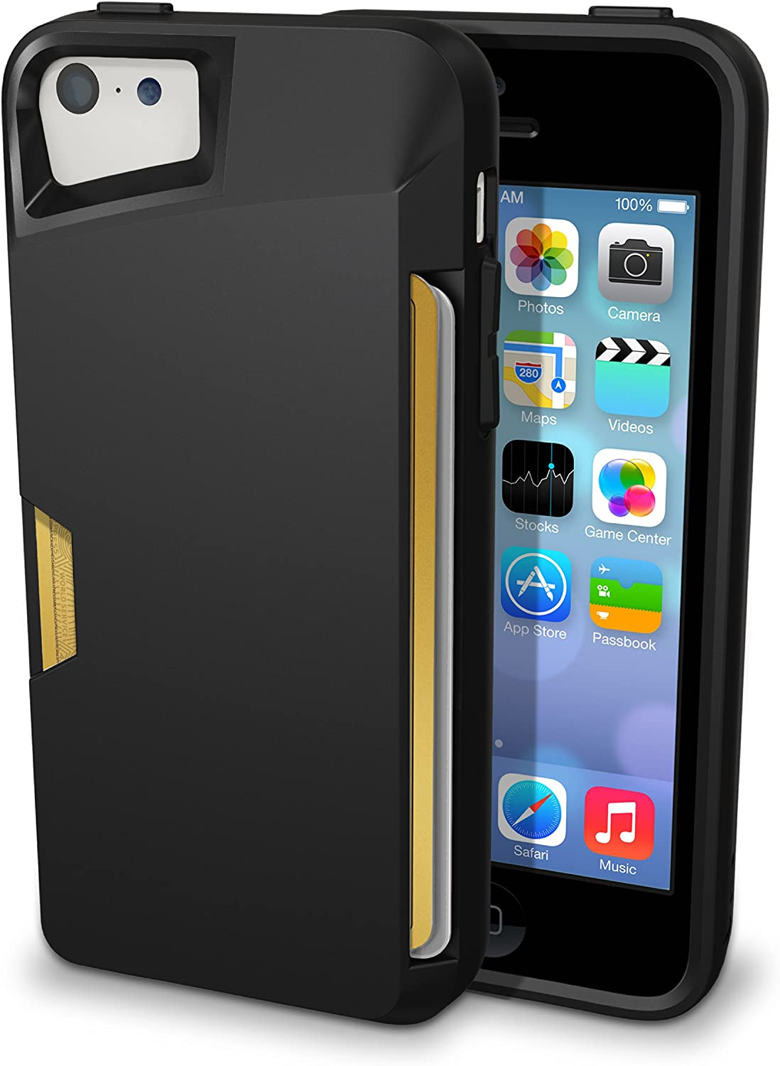 Smartish iPhone 5c Wallet Case - [Ultra Slim Protective iPhone Wallet] - Slite Card Case for iPhone 5c by (CM4) - Black Onyx'