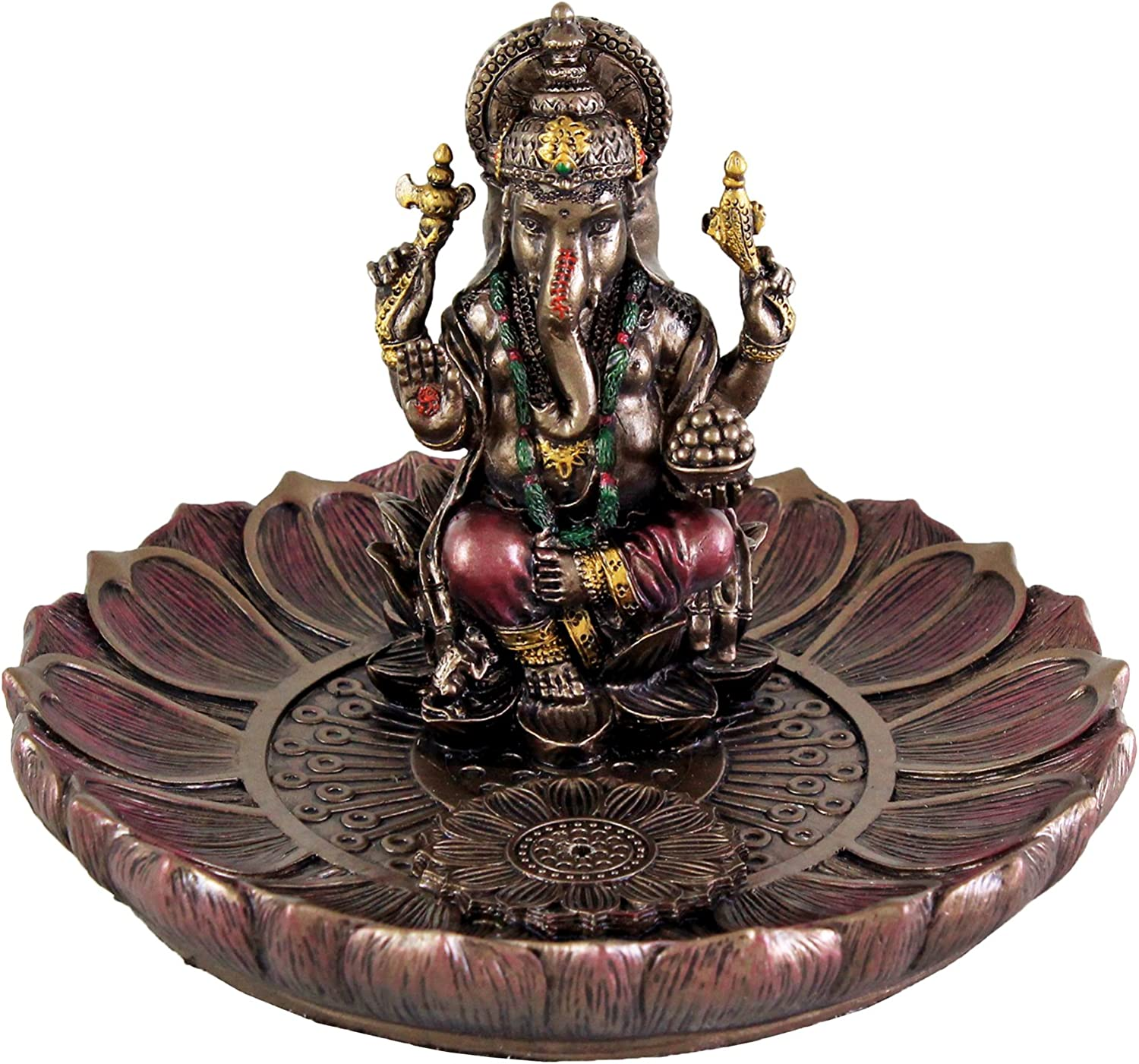 """Top Collection 3.5"""" H 5"""" Dia. Ganesha Round Lotus Plate Incense Tea Light Holder Burner. Hindu Elephant God of Success. Bronze Powder Mixed with Resin. Bronze Finish with Color Accents."""