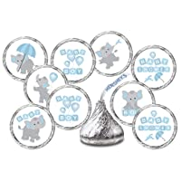 RokAPary 324 Elephants Blue Boy Baby Shower Favors Stickers for Baby Shower Or Baby Sprinkle Party, Baby Shower Blue Favors, Baby Shower Labels, Its a Boy Kisses. Candy not Included