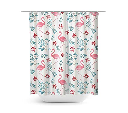 Dynabit Pink Flamingo Fabric Shower Curtain 72x72 Inch Mildew Resistant And Waterproof Bathroom
