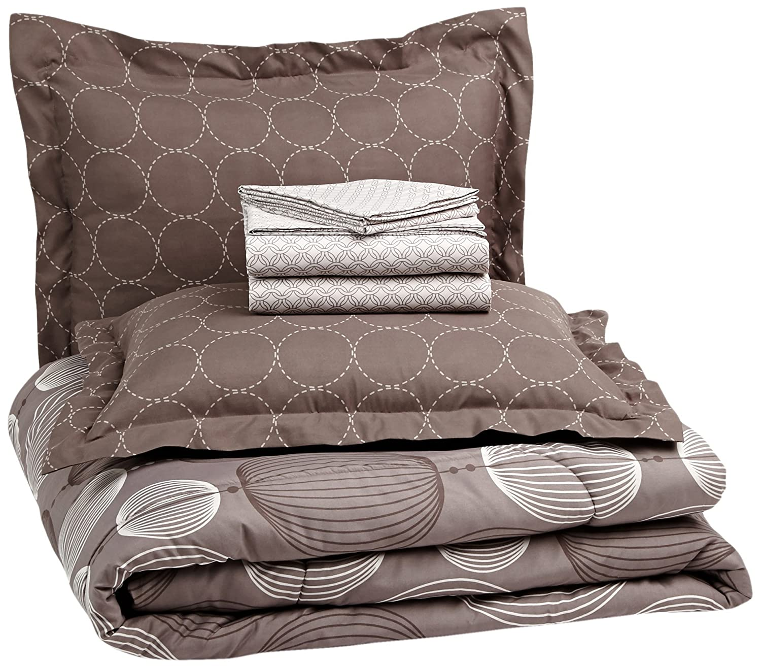 AmazonBasics 7-Piece Bed-In-A-Bag Comforter Bedding Set - Full or Queen, Industrial Grey, Microfiber, Ultra-Soft