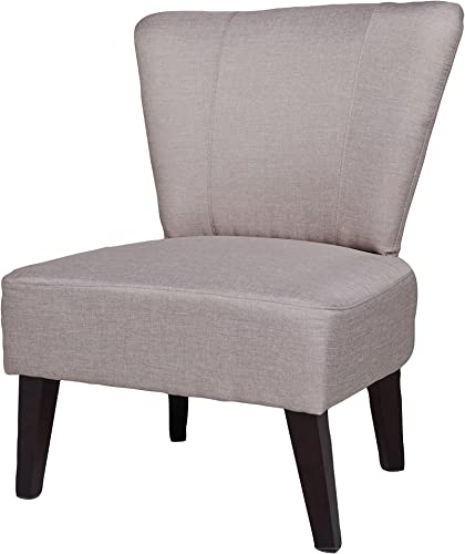 US Pride Furniture Alice Solid Color Fabric Accent Chair, Beige