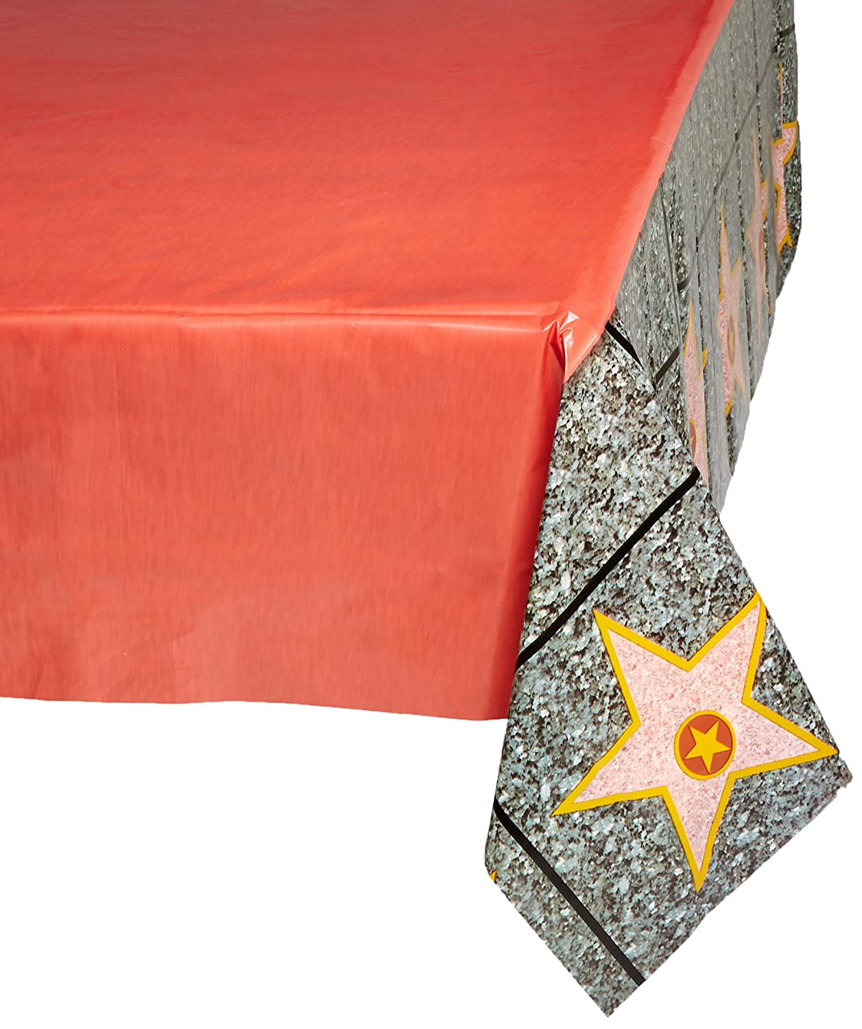 """Beistle 57344 Carpet""""Star"""" Tablecover, 54 by 108-Inch, Red"""