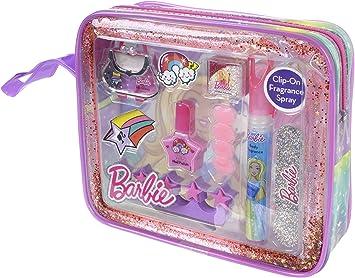 Barbie Barbie – Glitz & Glam Makeup Tote – Kit maquillaje infantil – Cruelty Free – Gloss – Barniz – pegatinas para uñas – Purpurina Polvo – Perfume cuerpo: Amazon.es: Belleza