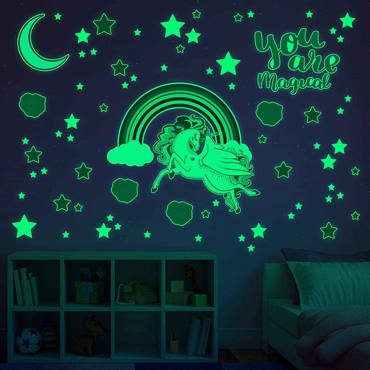 Glowing Snuggles Glow in The Dark Decals - Large Unicorn and Rainbow Wall Sticker Set for Kids with Stars Moon Roses -Unicorn Bedroom Decor for Girls - Unicorn Gifts for Girls