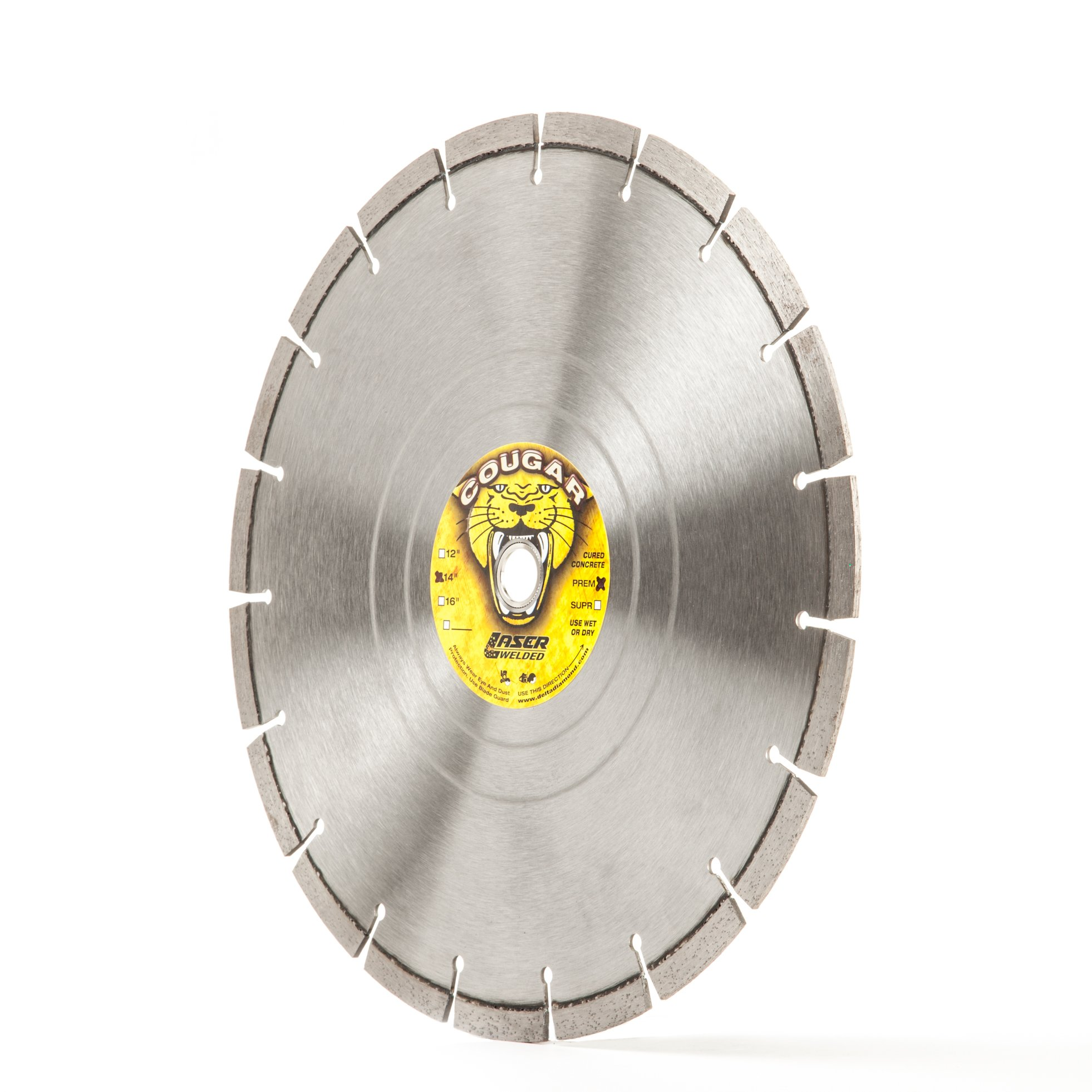 Cougar HS 14-Inch Concrete Saw Diamond Blade, 14'' X .125'' X 1''-20MM Bushing for Wet or Dry Cutting Concrete, Masonry, Brick, Block, Pavers, Stone and Similar. Made in USA by DELTA DIAMOND PRODUCTS INCORPORATED