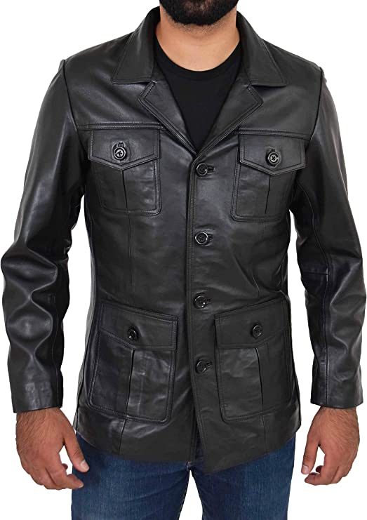 Mens Safari Real Leather Coat Trench Fitted Retro 70/'s Style Blazer Jacket Black