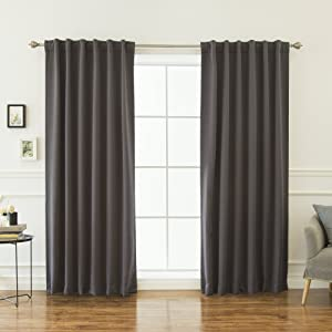 Best Home Fashion Thermal Insulated Blackout Curtains - Back Tab/Rod Pocket - Dark Grey - 52