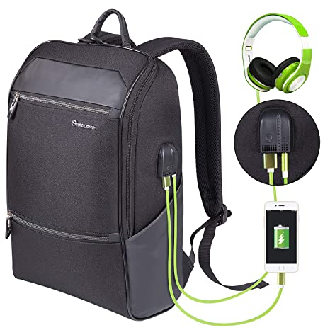 d5855226777d Laptop Backpack for Men & Women with Waterproof, Travel/School Backpack  with USB Charging Port & Headphone Interface, Slim Business/Work Computer  Bag ...