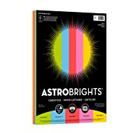 "Astrobrights Colored Cardstock, 8.5"" x 11"", 65 lb/176 gsm,""Party"" 5-Color Assortment, 100 Sheets (20901)"