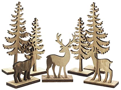 Amazon Midwest CBK Natural Wooden Deer Tree Figurines For