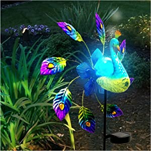 Outdoor Solar Lights, 40 inch Metal Peacock Decor Garden Solar Lights Solar Peacock Stake for Outdoor Patio Yard Decorations, Lawn Ornament, Stake Lights Solar Powered LED Light (Blue)