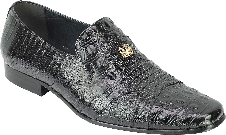 Hombres Retro del Estilo del diseñador Verde Amarillento cocodrilo de impresión de Recibos de Cuero Real de los Zapatos del Partido del Vestido de los Holgazanes