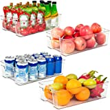Refrigerator Organizer Bins, Vtopmart 4 Pack Large Clear Plastic Food Storage Bin with Handle for Freezer, Cabinet…