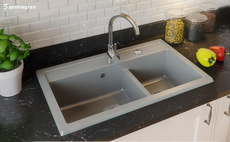 2 bac avec siphon automatique /évier de cuisine Noir /Évier granit Primagran