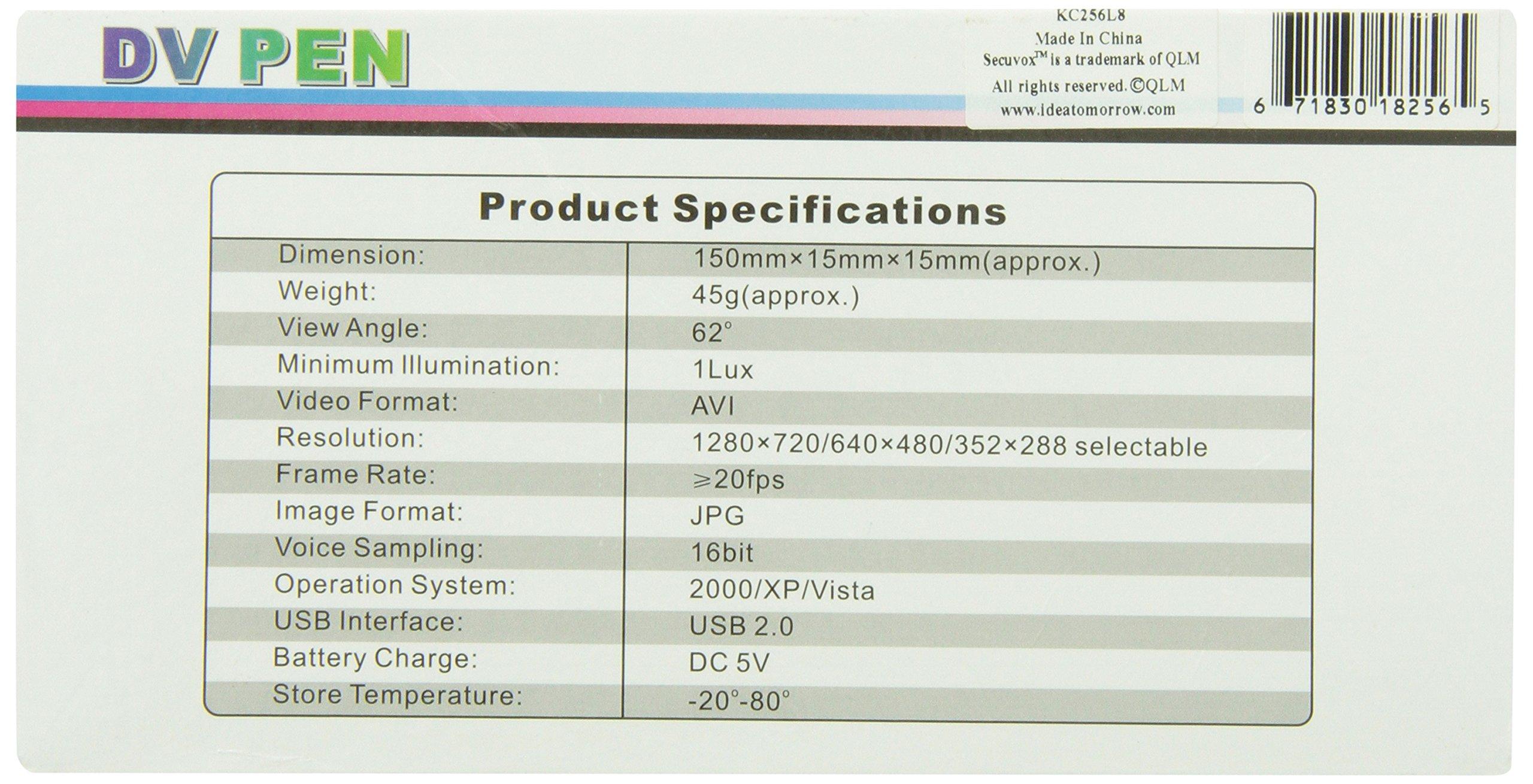SecuVox Motion Detection Smart Spy Pen Camcorder, Black