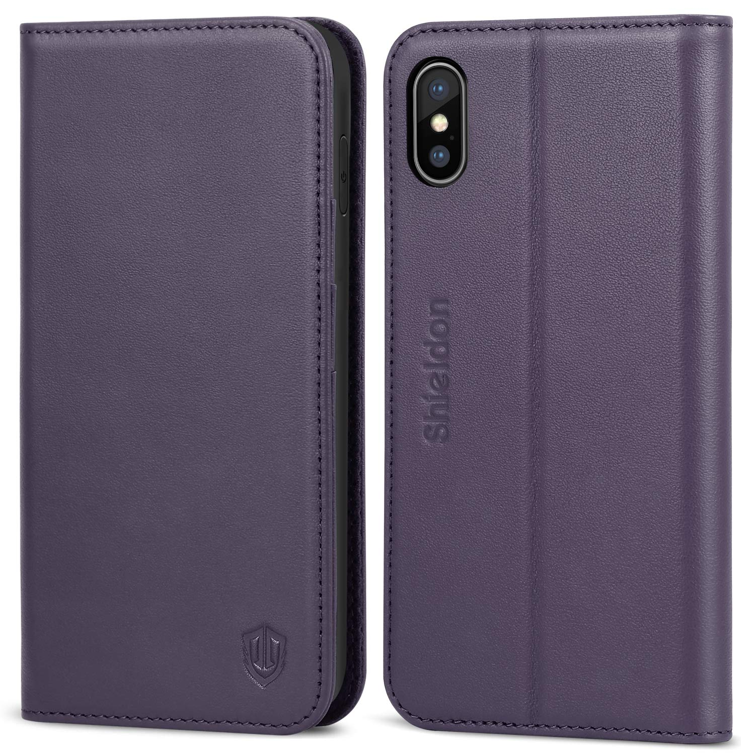 SHIELDON iPhone Xs Max Case, Genuine Leather iPhone Xs Max Magnetic Wallet Case with Auto Sleep/Wake Kickstand RFID Card Slots Compatible with iPhone Xs Max (6.5 Inch 2018 Release) - Purple