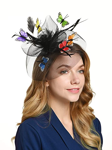 a91336c4 Tea Party Hat for Women Fascinators Kentucky Derby Wedding Hair Clip  Headpiece with Butterfly (1