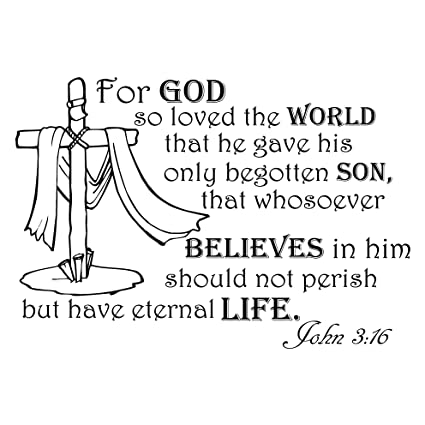 Wall Decals Quotes For God So Loved The World John 316 Bible