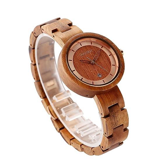 Reloj de madera, relojes de mujer pulsera de mujer de grano de madera ligero reloj de pulsera de cuarzo analš®gico liviano para mujer: Amazon.es: Relojes