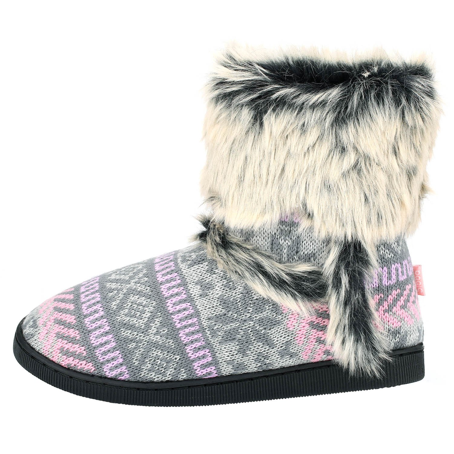 SIBBA Ladies Knitted Fur Lined Bootie Slippers with Snug Faux Fur Trim UK  Size 3-8 (UK 3-4, Pink): Amazon.co.uk: Shoes & Bags