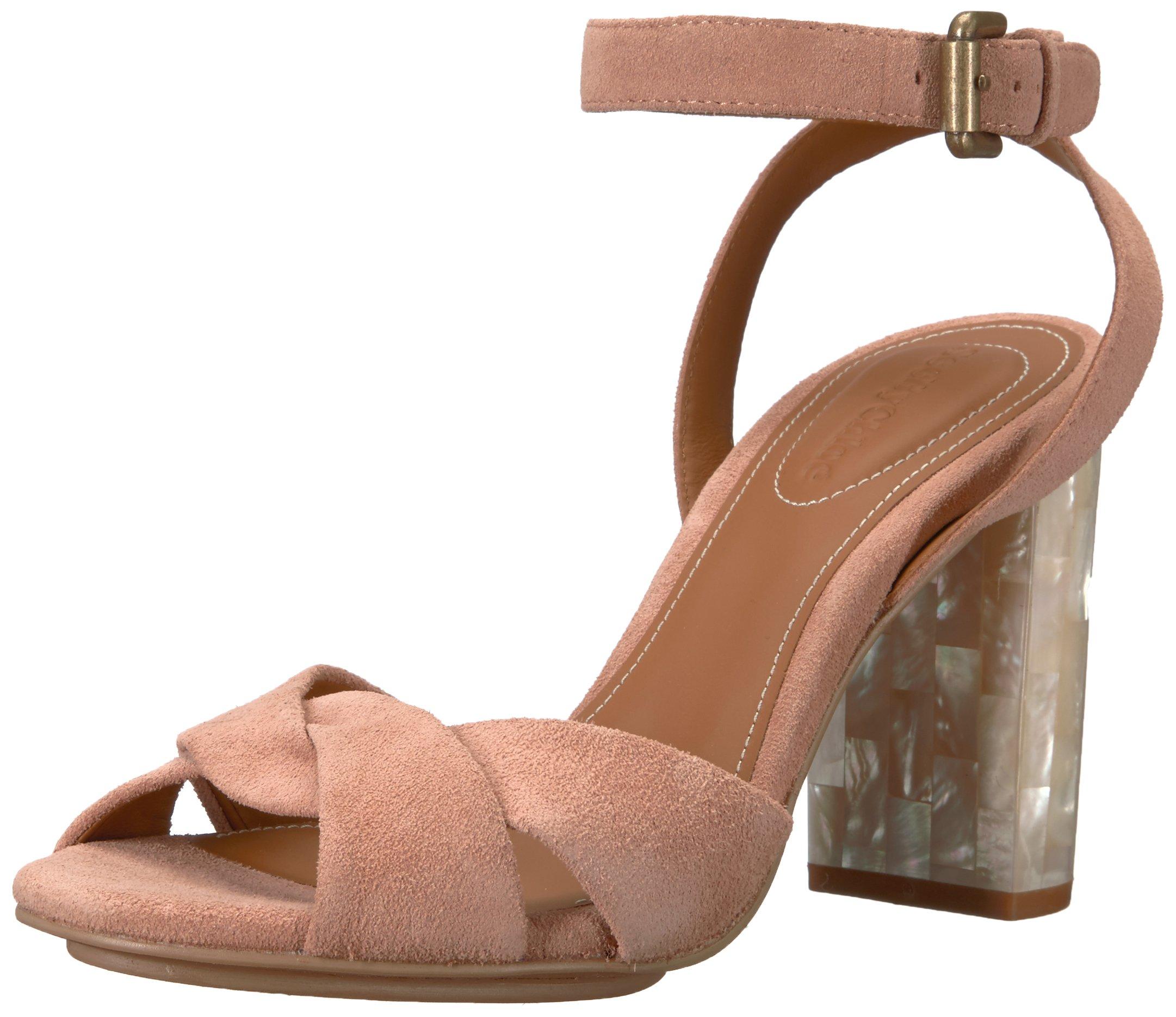 See By Chloe Women's Isida Suede Heeled Sandal, Light/Pastel Pink, 37.5 M EU (7.5 US)