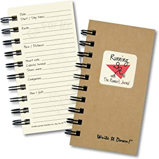 """product image for Journals Unlimited """"Write it Down!"""" Series Guided Journal, Running, The Runner's Journal, Mini-Size 3""""x5.5"""", with a Kraft Hard Cover, Made of Recycled Materials"""