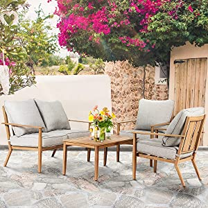 Crownland 4 Pcs Patio Sofa Outdoor Furniture Set (Loveseat, 2 Single Chairs, Coffee Table) with Water-Resistant Grey Cushions for Garden Backyard Poolside Pool