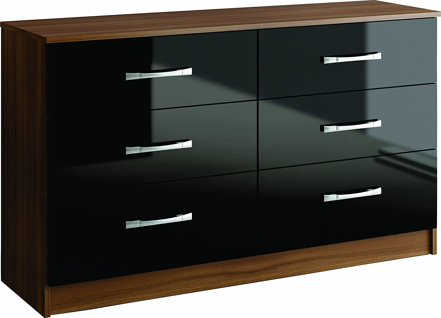 Birlea Lynx 6-Drawer Chest - High Gloss, Black Birlea Furniture Ltd LYNCH6BLK