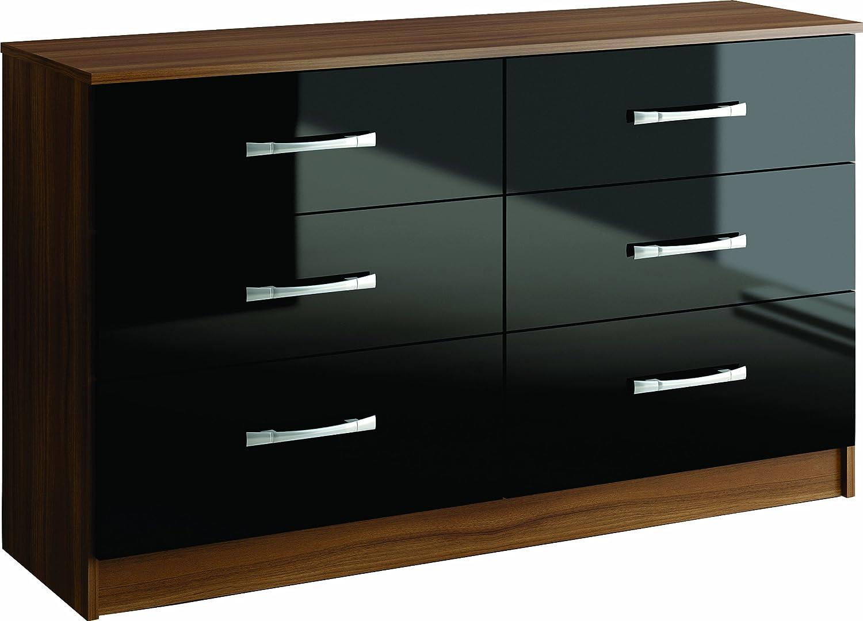 Birlea Lynx Drawer Chest High Gloss Walnut And Black Amazon - Black gloss chest of drawers