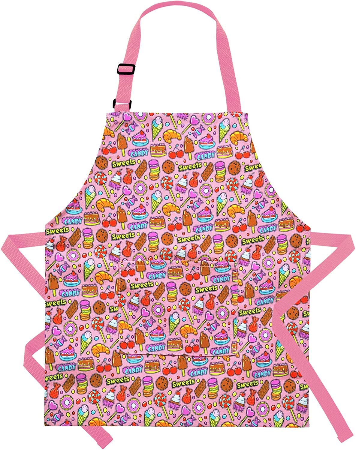 Kids Aprons Child Apron Cotton Children Aprons with Adjustable Neck Strap for Boys Girls Cooking Baking Painting Gardening