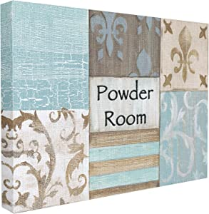 Stupell Industries The Stupell Home Decor Collection Fleur de Lis Powder Room Blue, Brown and Beige Bathroom Canvas Wall Art, 24 x 30, Design by Artist Bonnie Wrublesky