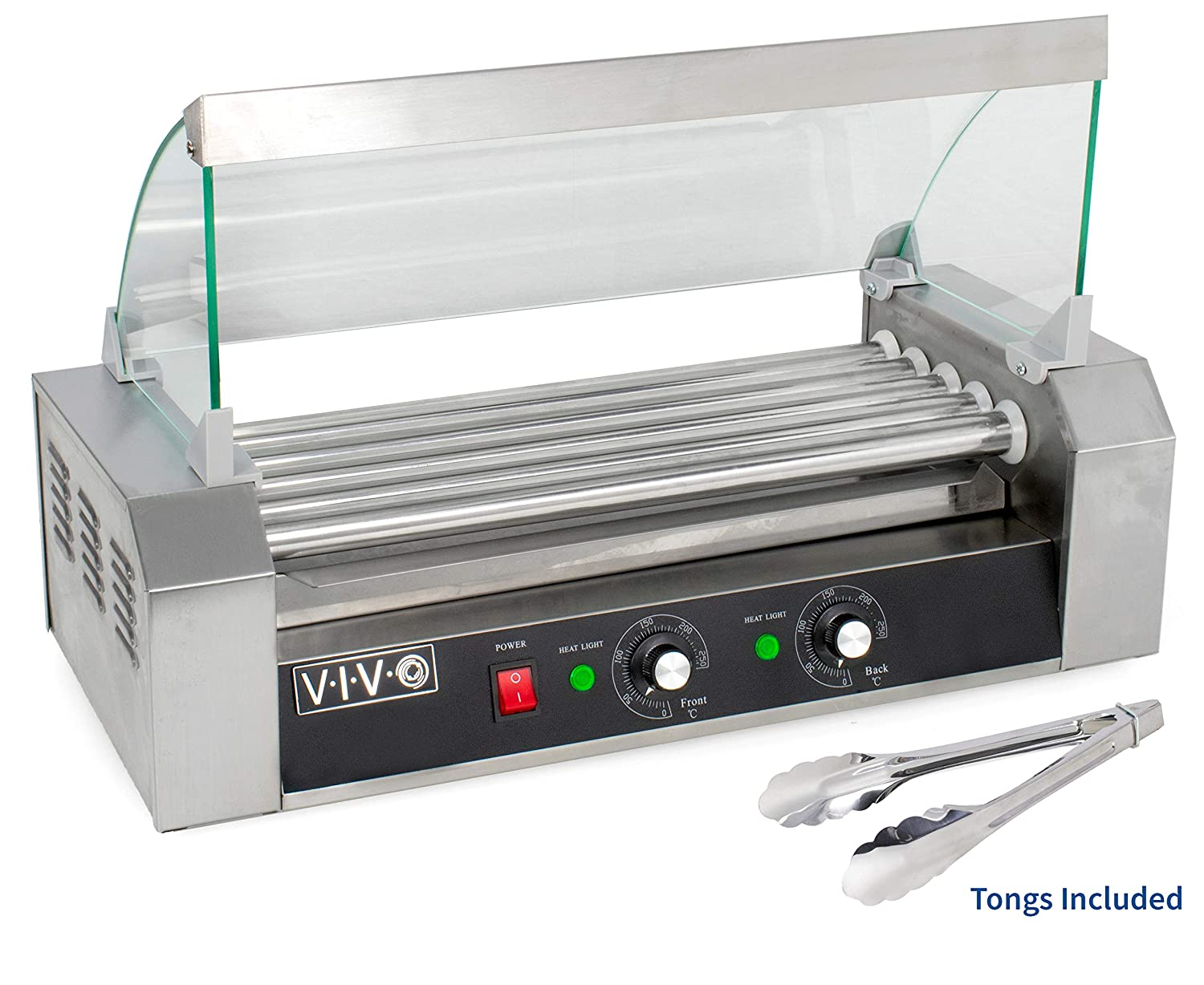 VIVO Electric 12 Hot Dog & Five (5) Roller Grill Cooker Warmer Machine with Cover (HOTDG-V205)