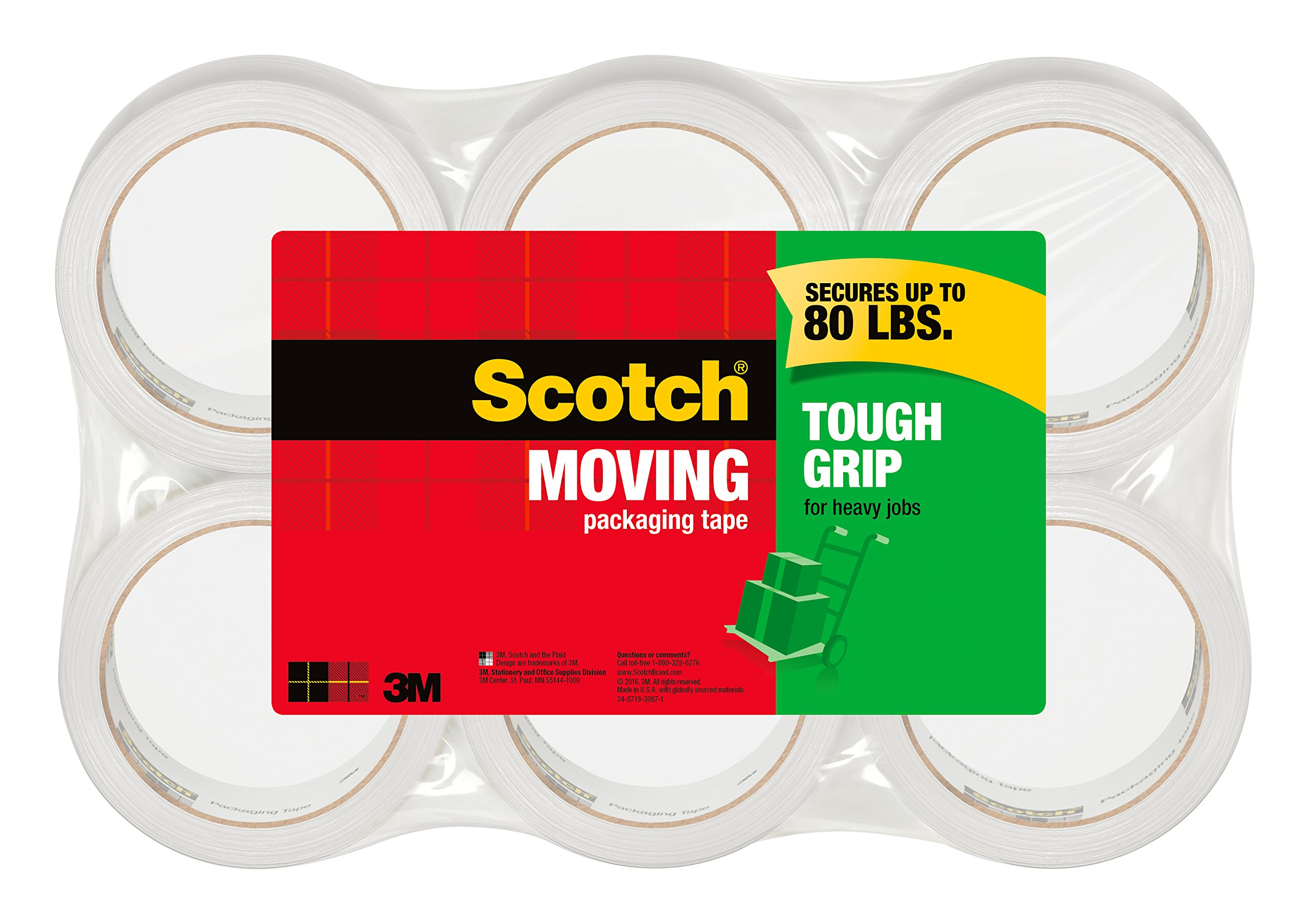 Scotch Tough Grip Moving Packaging Tape, 1.88 in. x 43.7 yd., 6 Roll/sPack by Scotch Brand