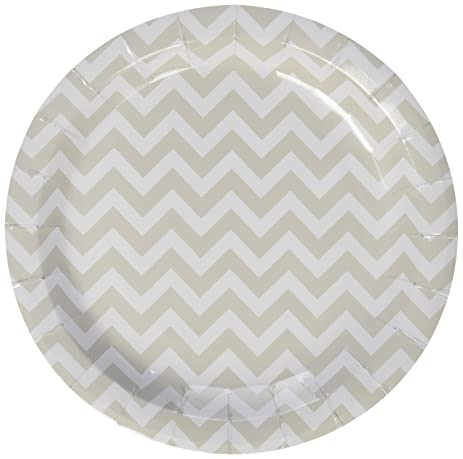Ginger Ray Chevron Divine Paper Party Plates Grey  sc 1 st  Amazon.com : black and white chevron paper plates - pezcame.com
