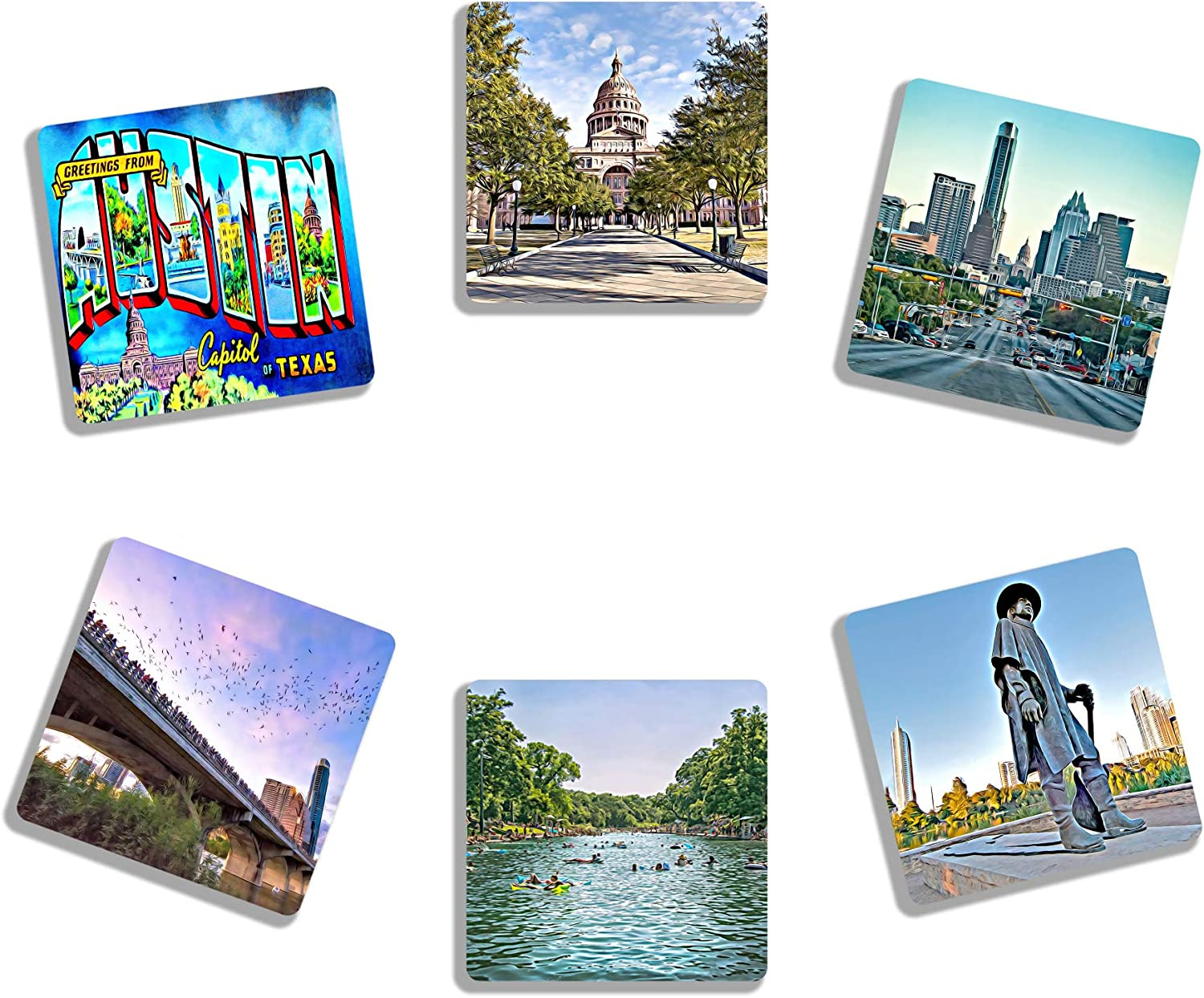 EXIT82ART - Rubber Drink Coasters (Set of 6). Iconic Austin, Texas. Absorbent. Dishwasher Safe.