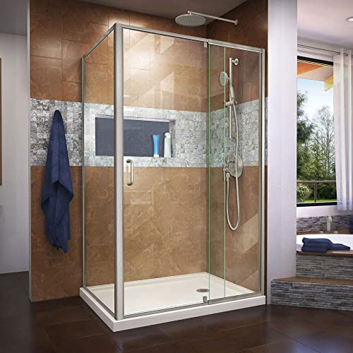 DreamLine Flex 36 in. D x 48 in. W x 74 3 4 in. H Semi-Frameless Shower Enclosure in Brushed Nickel with Right Drain Biscuit Base, DL-6719R-22-04